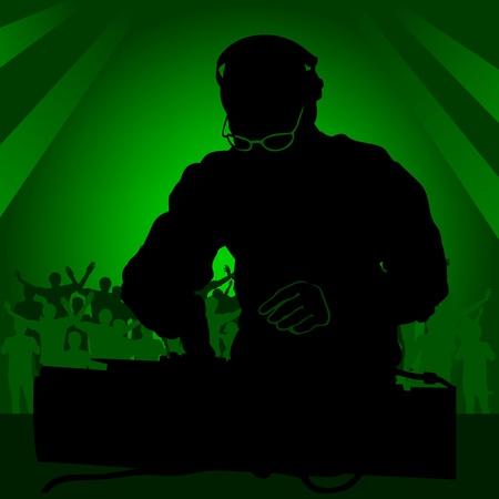 green jay: DJ en la discoteca - color ilustración, vectorial Vectores