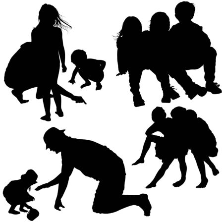 Family Silhouettes - Black Illustrations, Vector Vector