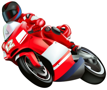 motorized sport: Motorcycle - Colored Illustration, Vector