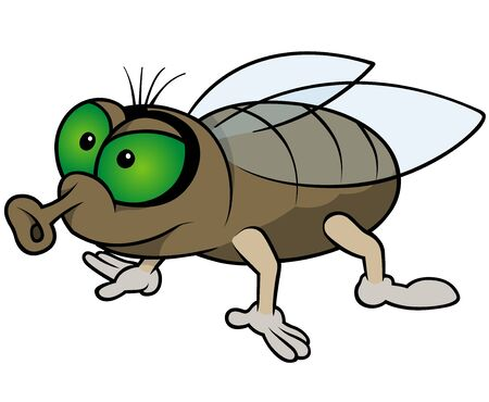 Waiting Fly - Colored Cartoon Illustration, Vector