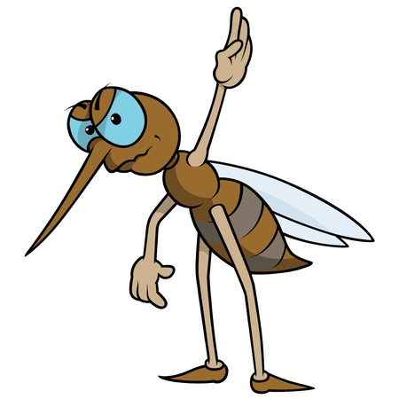 legged: Mosquito With Raised Hand - Colored Cartoon Illustration, Vector