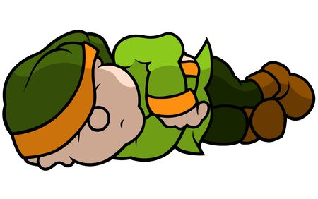 green elf: Green Elf Sleeping - Cartoon Illustration, Vector