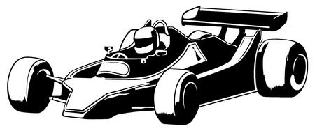 formula one: Racing Car - Black Outline Illustration, Vector