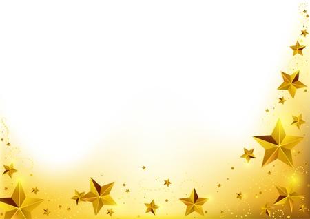 Kerst Goud Starry Achtergrond - Abstract Xmas Illustratie, Vector