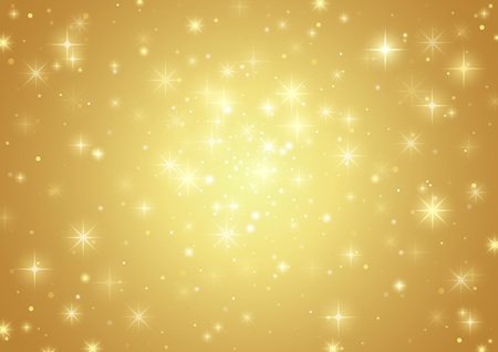 Gold Background With Stars - Holiday Pattern, Vector Illustration Vectores