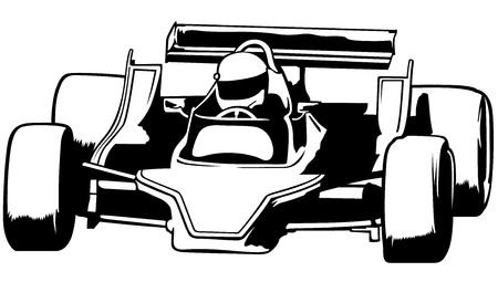 indy: Racing Car - Black Outline Illustration, Vector