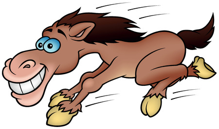 Running Horse - Colored Cartoon Illustration, Vector