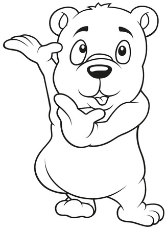 Cute Bear - Cartoon Illustration, Outlined Vector Vector