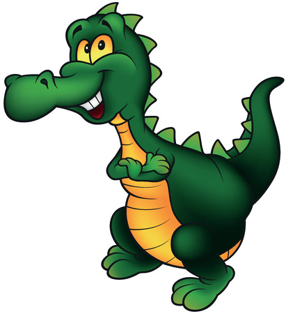 saurian: Cheerful Smiling Dino - Cartoon Illustration, Vector Illustration