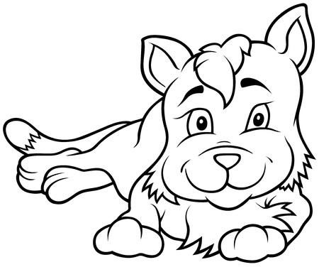 amiable: Kitten Laying - Outlined Cartoon Illustration, Vector