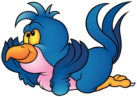 laying little: Blue Parrot Laying - Cartoon Illustration, Vector