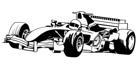 Racing Car Formula One - Black Outline Illustration, Vector Ilustração