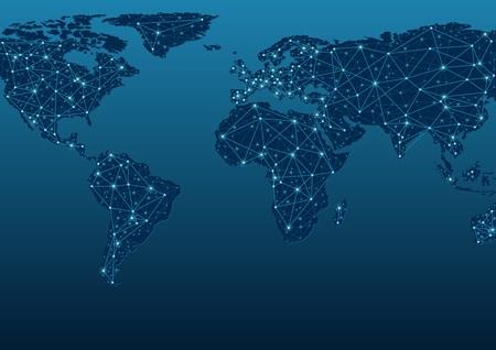 alrededor del mundo: Mapa mundial Comunicaciones - ilustración abstracta del fondo, Vector