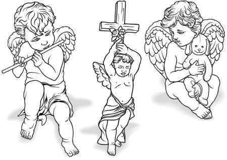 angels in heaven: Cherub Set - Black Outlined Illustrations, Vector