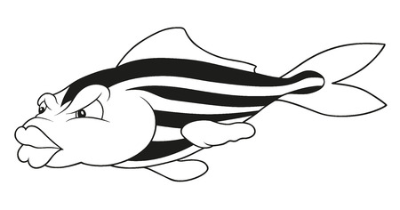 outline drawing of fish: Striped Fish - Outlined Cartoon Illustration, Vector
