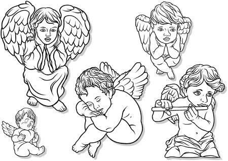 cherub: Little Angel Set - Black Outlined Illustrations Illustration