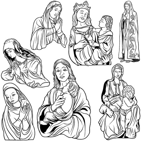 virgin: Virgin Mary Set - Black and White Outlined Illustrations, Vector