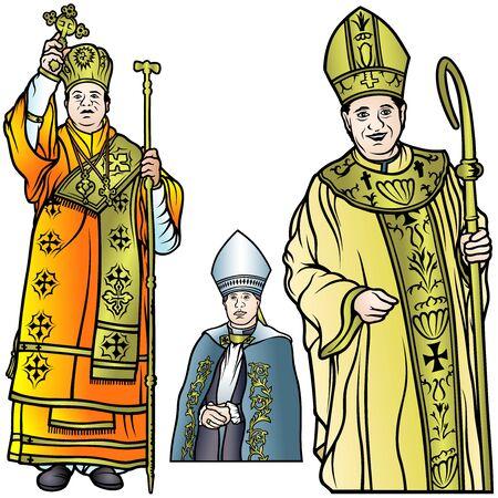 bishop: Bishop Set - Colored Illustrations, Vector