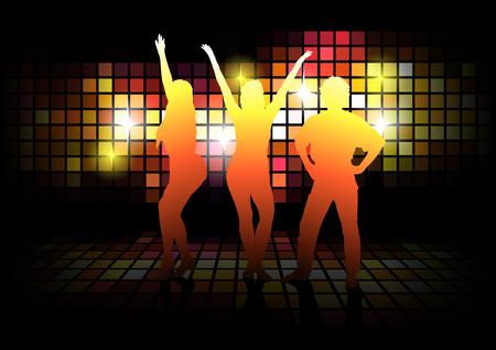disco dancer: Dancing Silhouettes - Dance Party Background Illustration, Vector Illustration