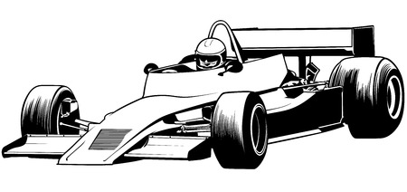 Driver And Racing Car Illustration, Vector  イラスト・ベクター素材