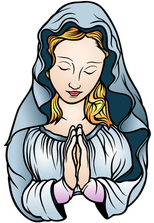 praying people: Virgin Mary - Colored Illustration, Vector