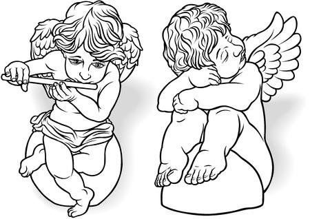 cherub: Cherub Set - Black Outlined Illustrations, Vector