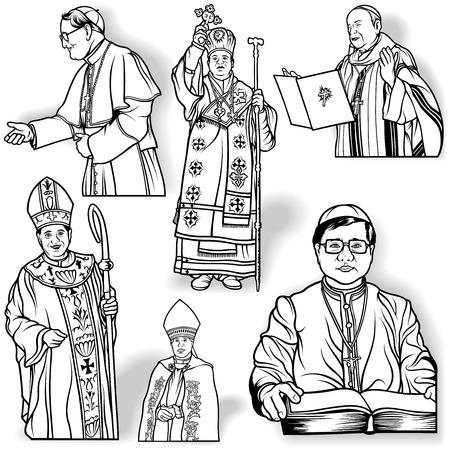 bishop: Bishop Set - Outlined Illustrations, Vector
