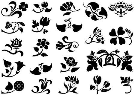 headliner: Flower Pictograms - Decorative Elements, Vector Illustration
