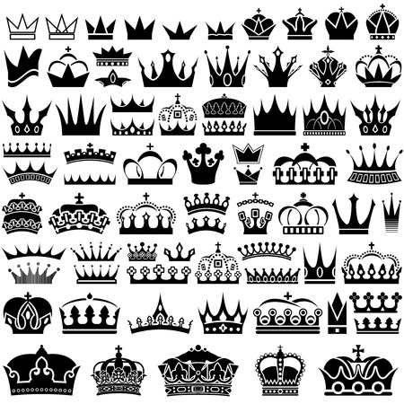 Crown Design Set - 70 Illustrations, Vector