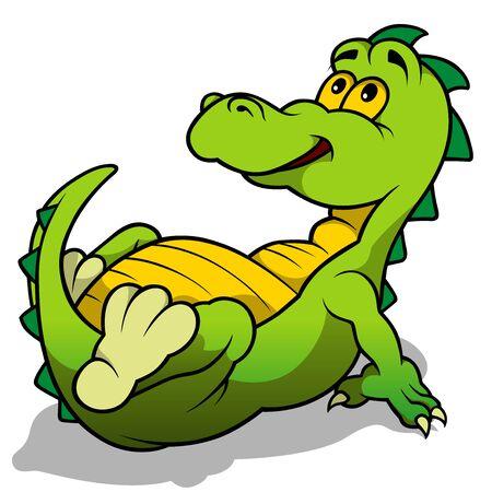 saurian: Green Dino Laying  Cartoon Illustration Vector