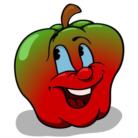 big apple: Apple With Big Smile  Cartoon Illustration  Illustration