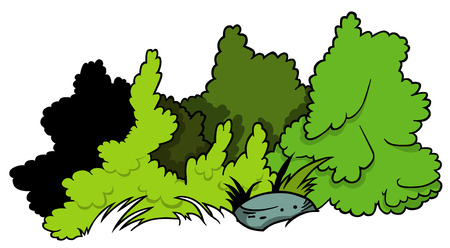 shrubs: Shrubs and Boulder  Cartoon Illustration