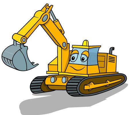 Smiling Excavator  Cartoon Illustration Vector