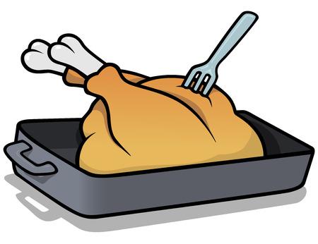 roast turkey: Roast Turkey  Cartoon Illustration Vector