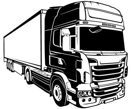outlines: Trailer Truck  Black Outlined Illustration Vector