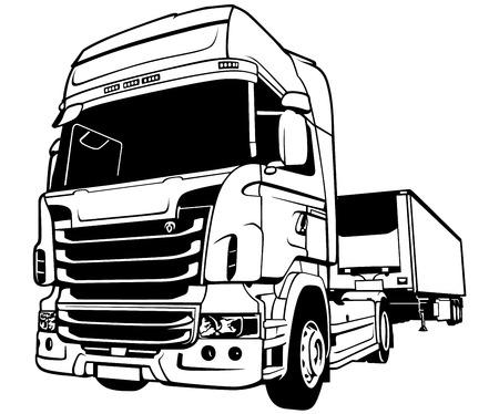 Trailer Truck  Black Outlined Illustration Vector