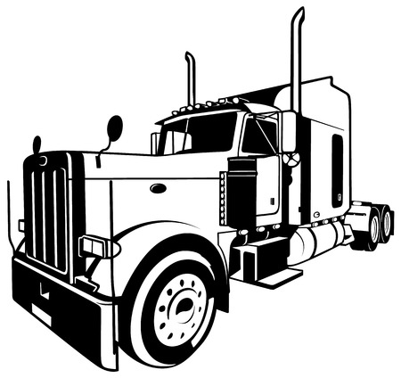 American Truck  Black Outlined Illustration Vector