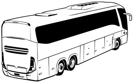 coachwork: Longdistance Bus  Black Outlined Illustration Vector Illustration