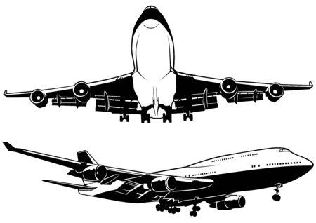passenger transportation: Airplane  Black and White Outline Illustration Vector