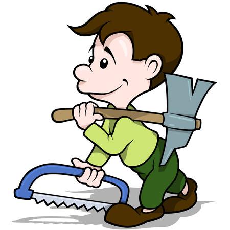 serrucho: Caminando Carpintero Holding Axe y Serrucho - Ilustración de dibujos animados, vector