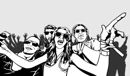festival vector: Party Crowd - Black and White Illustration, Vector