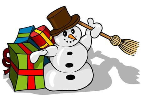 Christmas Snowman with Christmas Gifts - Cartoon Illustration, Vector