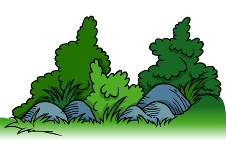 shrubs: Shrubs with Rocks - Cartoon Background Element, Vector Illustration