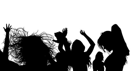 party night: Dancing Crowd Silhouette - Black Illustration, Vector