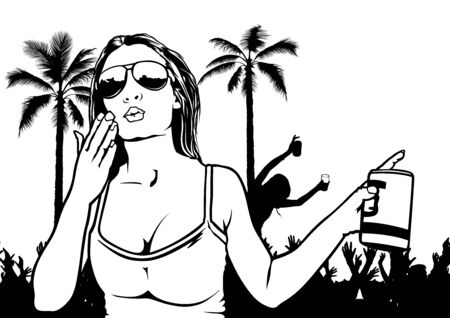 sexy girl dance: Tropical Dance Party - Sexy Girl and Dancing Crowd, Illustration