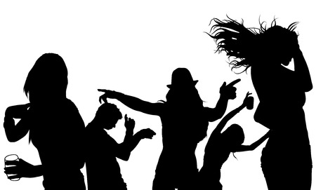 night life: Dancing Crowd Silhouette - Black Illustration, Vector