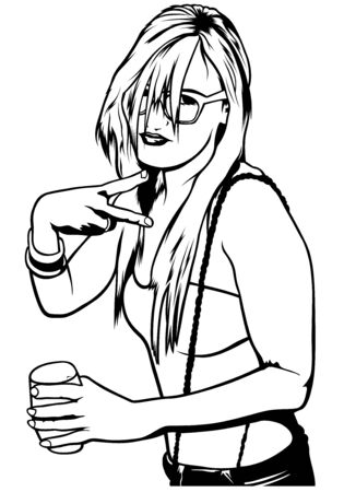 girl glasses: Young Woman holding Drink - Illustration, Vector