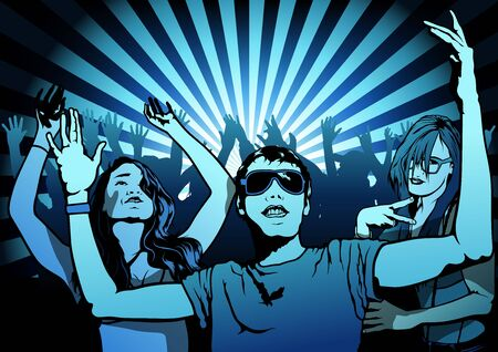 dancefloor: Dancing People on Disco Party - Illustration, Vector