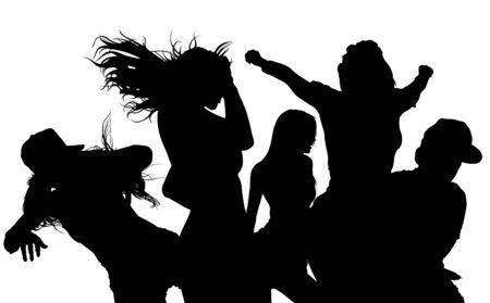 audiences: Dancing Crowd Silhouette - Black Illustration, Vector