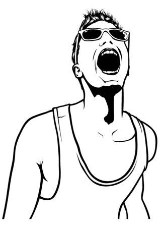 lad: Cheering Men on Party - Emotional Shout Illustration Illustration